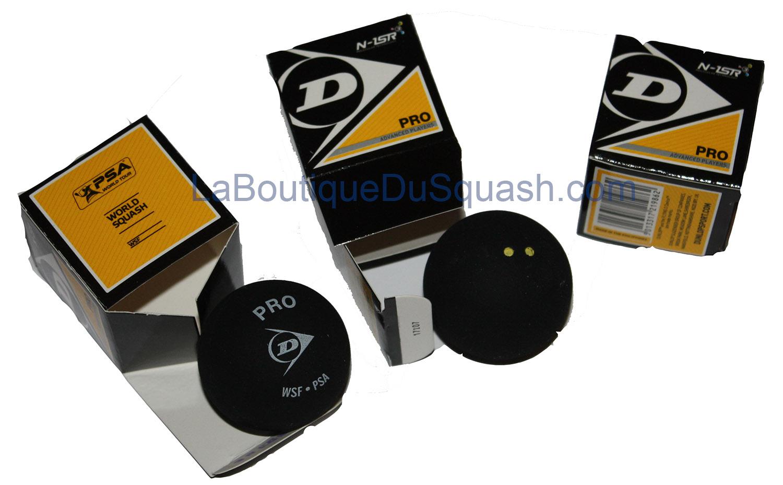 Dunlop pro double point jaune, la balle officielle de tous les tournois homologués.