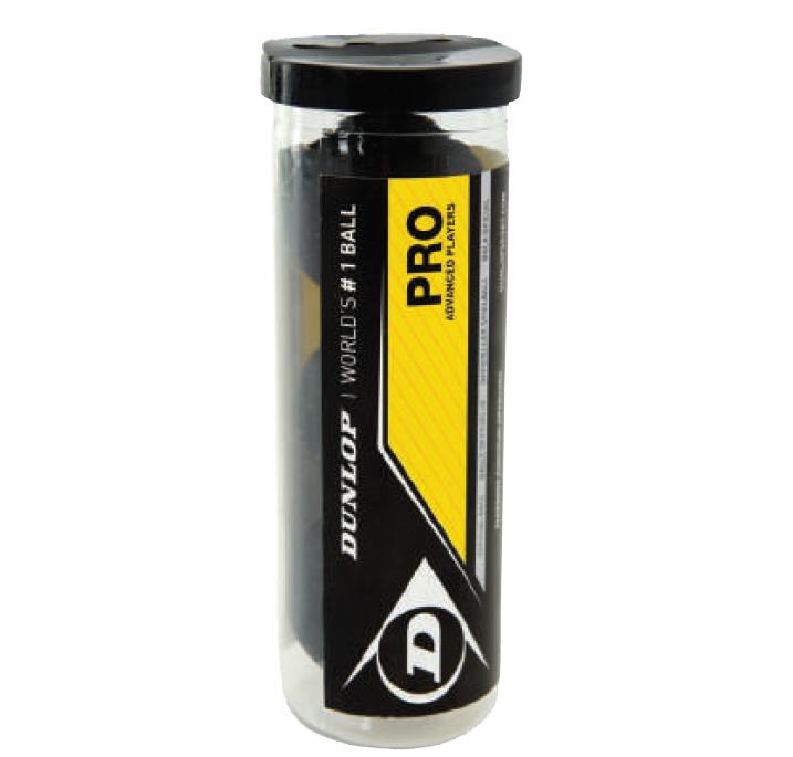 La balle officielle Dunlop Pro par 3 dans un tube, encore du plastique mais un tube réutilisable ! la balle homologuée pour les tournois.