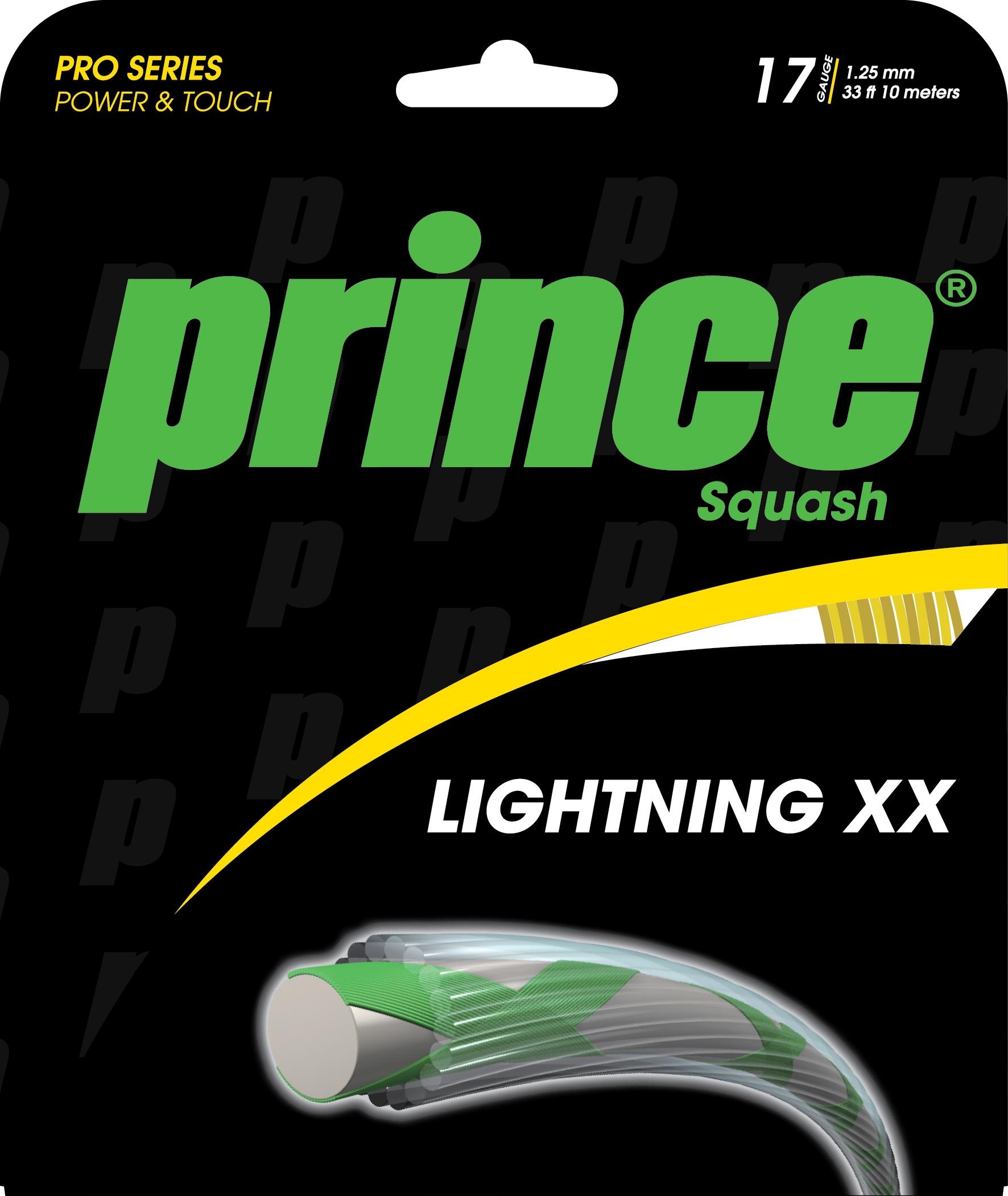 jauge de 1.25, cordage d'origine des Prince haut de gamme, ici la Rebel 950. Cordage avec moins de rendement que le syngut duraflex mais plus confortable et plus d'accroche à la balle.