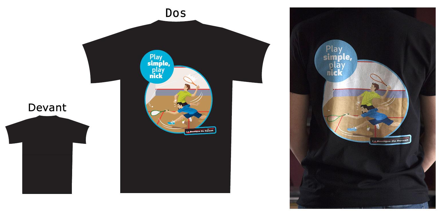 L'option a été prise d'avoir un t-shirt de qualité en 190gr  qui se tienne bien dans le temps avec un marquage en impression directement sur la fibre et non en transfert. Il fait partie d'une série que nous avons souhaité lancer. Cette série est en coton avec un marquage juste dans le dos, plus abordable et une série t-shirt technique en Airtex avec marquage global en sublimation arrivera bientôt. Le Nick est le fait de tuer l'échange en visant l'angle du sol avec un des murs. Même s'il est difficile et n'a rien de simple, il se travaille à l'entraînement ! Alors jouez simple, jouez Nick !