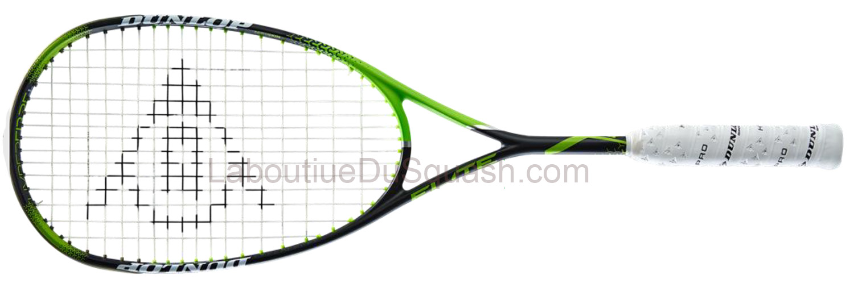 La raquette de GREGORY GAULTIER est la raquette de squash <strong>Dunlop Precision Elite</strong> reconduite une nouvelle fois cette saison, cette raquette de squash qui plait beaucoup en terme de sensation. Donnée pour être la plus puissante des Dunlop. un tamis énorme 500 cm2 avec de la puissance, que demander de plus ?  Elle permet et elle donne envie de réaliser des frappes d'avant Bras, avec peu d'amplitude mais très rapidement. C'est un vrai plaisir de claquer comme cela avec cette raquette ! poids mesuré 157gr.