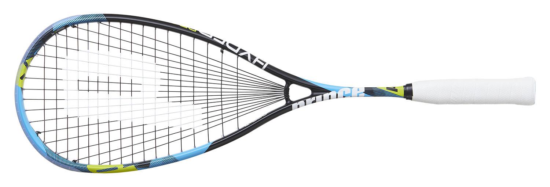 la raquette de squash Prince Hyper Pro 550 remplaçante de l'air stick lite 550, grand tamis plus rond plus légère en tête. Fixation du cordage normale sans les trous rectangulaires. Elle n'est pas la plus puissante des Prince mais elle est très maniable, une des plus maniables et réactives.