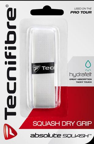 Le grip pour raquette squash dry grip de la famille absolute squash de tecnifibre. Un très bon grip ici en blanc.