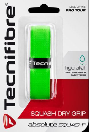 Le grip pour raquette squash dry grip de la famille absolute squash de tecnifibre. Un très bon grip ici en vert.